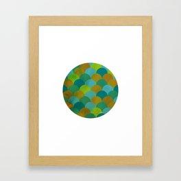 Blue Tile Circle Framed Art Print