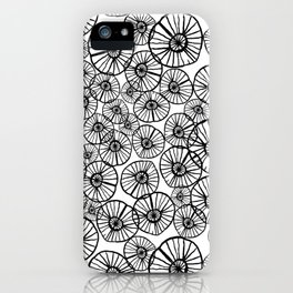 Lexi - squiggle modern black and white hand drawn pattern design pinwheels natural organic form abst iPhone Case