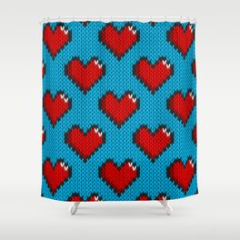 Knitted heart pattern - blue Shower Curtain