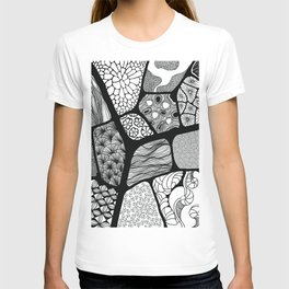 patchwork with black and white patterns T-shirt
