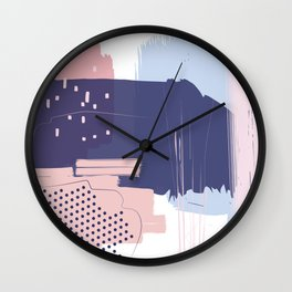 Blush Purple Blue Pink Decorative Abstract painting -1, Colour Symphony abstraction, Wall Clock