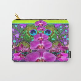 Fuchsia  Purple Orchids Chartreuse-pink  Pattern Art Carry-All Pouch