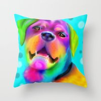 rottweiler Throw Pillows featuring Funky Rottweiler by Sally Rowland Art