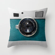Classic retro Blue Teal Leather silver Germany vintage camera iPhone 4 4s 5 5c, ipod, ipad case Throw Pillow