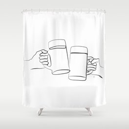 """ Kitchen Collection "" - Two Hands Holding Beer Glasses Shower Curtain"