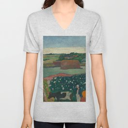 Haystacks in Brittany Oil Painting by Paul Gauguin Unisex V-Neck