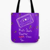 cassette Tote Bags featuring Cassette by Melis Kalpakçıoğlu