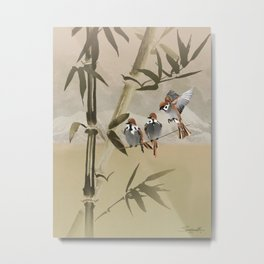Spring Sparrows in Bamboo Tree Metal Print