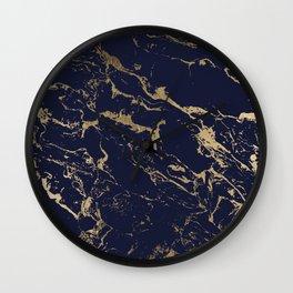 Modern luxury chic navy blue gold marble pattern Wall Clock
