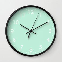 Mint Green Pastel Solid Color Block Wall Clock