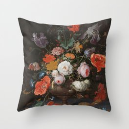 Abraham Mignon - Still life with flowers and a watch - 1660/1679 Throw Pillow