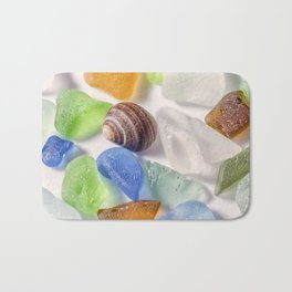 Tiny Sea shell and Beach Glass Bath Mat