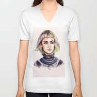 marc johns V-neck T-shirts featuring Cara/Marc Jacobs 2014 by vooce & kat