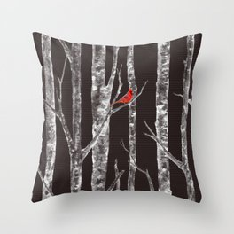 Lone Cardinal Throw Pillow