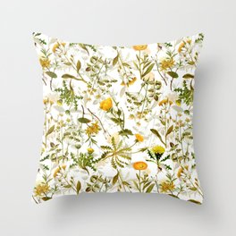 Vintage & Shabby Chic - Yellow Wildflowers Throw Pillow