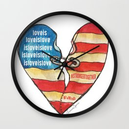 Torn Heart Flag Held Together With a Safety Pin Wall Clock