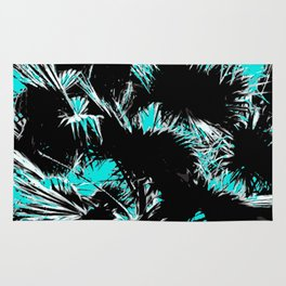 palm leaf abstract with blue background Rug
