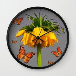 ORANGE MONARCH BUTTERFLIES CROWN IMPERIAL FLOWER Wall Clock