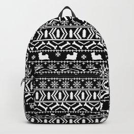 Biewer Terrier fair isle christmas black and white pattern minimal dog breed pet designs Backpack