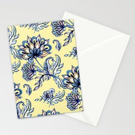 yellow and blue batik Stationery Cards