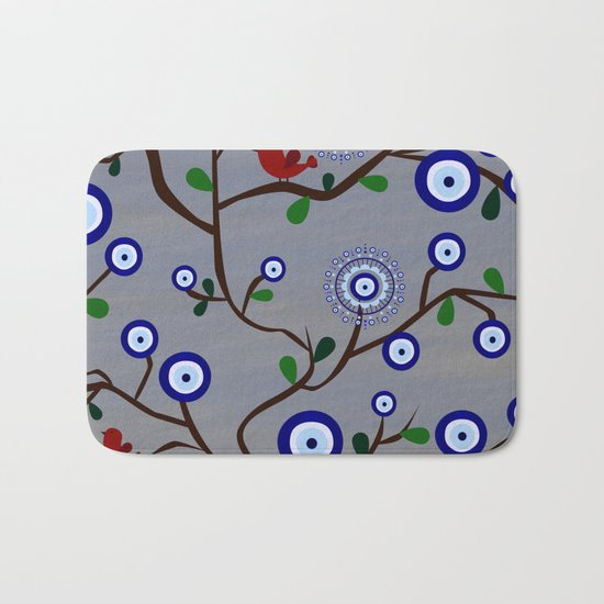 Lucky Evil Eye Bird Tree Bath Mat