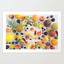 Collection of summer fruits Art Print