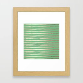 Abstract Stripes Gold Tropical Green Framed Art Print
