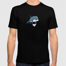 Love Ya! ~ Baby Dolphin ~ Blue Mens Fitted Tee Black MEDIUM