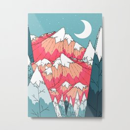 The winter mountains and moon Metal Print