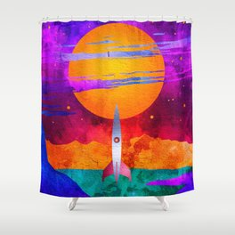 Colorful Outer Space Spaceship Shower Curtain