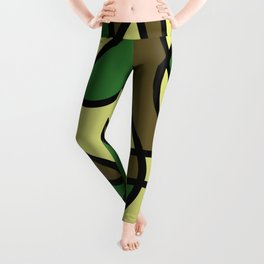 Camo Curves - Abstract, camouflage coloured pattern Leggings