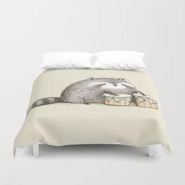 Raccoon on Bongos Duvet Cover