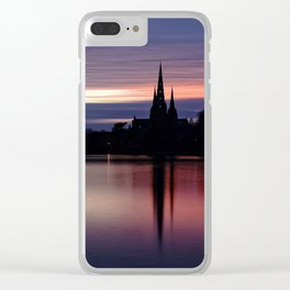 Pink Sky Over The Lichfield Cathedral Clear iPhone Case