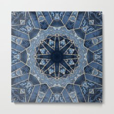 Geometric Blue Mandala Metal Print