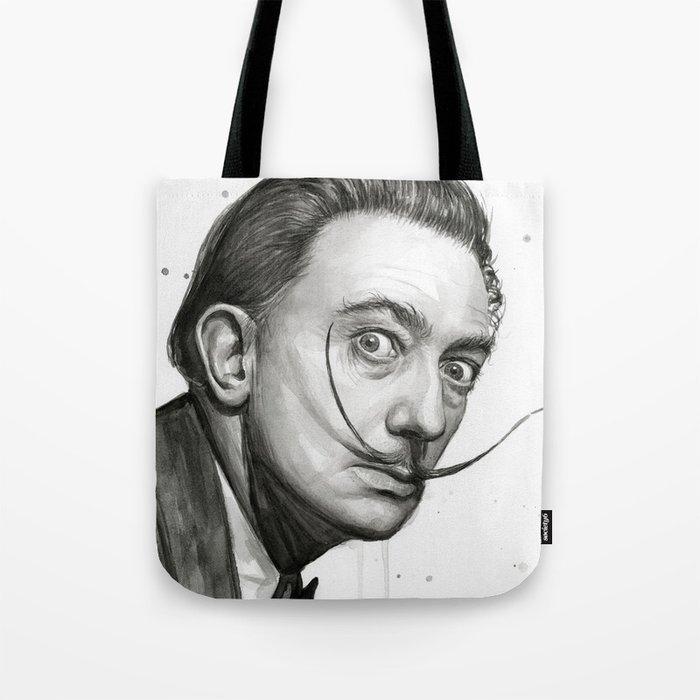 Dali Artist Watercolor Portrait Tote Bag