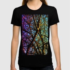 Colourful tree Black X-LARGE Womens Fitted Tee