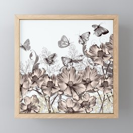 Butterfly Flowers And Butterflies Stencil Framed Mini Art Print