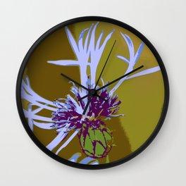 Cornflour Blue Flower Graphic Pop Art Wall Clock