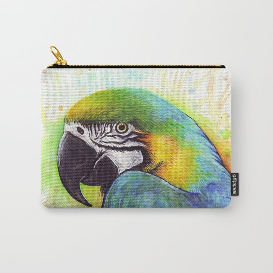Bird Watercolor Animal Macaw Carry-All Pouch