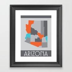 Arizona State Map Print Framed Art Print