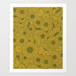 Floral Bunch Mustard Green Art Print