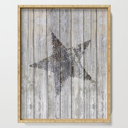 Grunge Star on old weathered grey wood Serving Tray