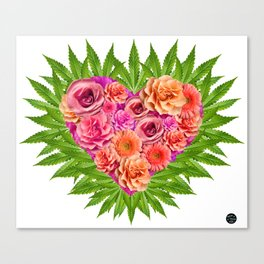 i Heart Pot Leaves Bouquet Canvas Print