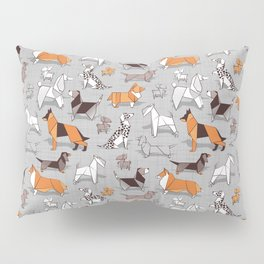 Origami doggie friends // grey linen texture background Pillow Sham