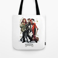hentai Tote Bags featuring Sirens Gotham city by rainbowarts