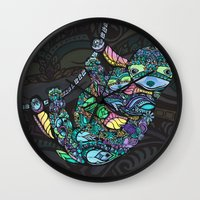 sloths Wall Clocks featuring Sleepy Sloths by LindseyRossInk