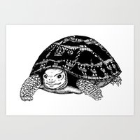 tortoise Art Prints featuring Tortoise by Emma Barker
