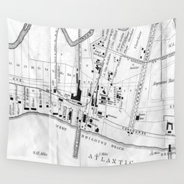 Vintage Map of Coney Island (1879) Wall Tapestry
