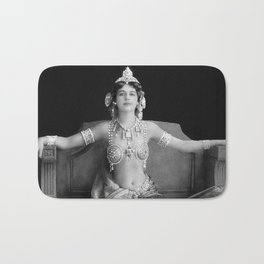 Mata Hari, Famous French Dancer and Femme fatale black and white photograph / black and white photography Bath Mat