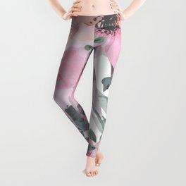 Floral Watercolor, Pink and Gray, Watercolor Print Leggings